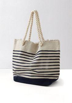 Grand sac de plage rayé Imprimé multicolore