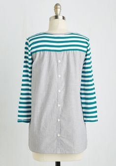 Do the Stripe Thing Top in Teal. Like your moral compass, your fashion sense always points you in the right direction - like toward this striped top! #multi #modcloth