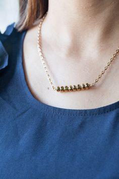 Gold gemstone bar necklace by BlushingGemDesigns on Etsy https://www.etsy.com/listing/269289264/gold-gemstone-bar-necklace