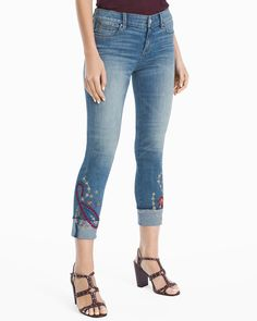 Ribbon embroidery adds global flair on our slim crop jeans giving your jean  arsenal some personality 086d8b1b7c45