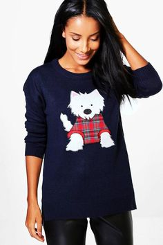 2b140e03e63 I just love this cute Christmas sweater for women! The little scottie dog  wearing a plaid sweater is adorable.