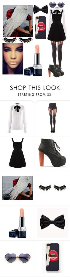 """""""Mysterious Look"""" by gracelane ❤ liked on Polyvore featuring Dolce&Gabbana, House of Holland, Warehouse, Jeffrey Campbell, Boohoo, Christian Dior, Forever 21, Wildfox, blackandwhite and mysterious"""