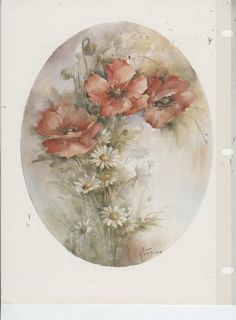 Poppies and Daisies by Helen Humes China Painting Study | eBay