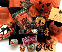 Boo Boxes are Fab-BOO-Lous! Order 1, 3 or all 8. Ships weekly beginning 1st of September thru Halloween. 6 festive Vintage Style Halloween goodies in each box which include a mix of games, signs, cutouts, ornaments, towels, socks, tags, notebooks, glasses, garlands, lanterns, pins, buttons, charms, treat boxes and other decorations and fun stuff. Halloween Fortune & Stunt included in each box for vintage flair. https://squareup.com/market/vintage-halloween
