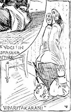 """A well dressed man practices viparitakarani. The drawing is from an article about yoga, New York Herald, March 27, 1898. The article is called """"If You Want to Be a Yogi and Have Heavenly Dreams Study These Postures,"""" and was an important source for """"The Subtle Body: The Story of Yoga in America,"""" by Stefanie Syman (2010)."""