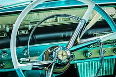 1956 Lincoln Premiere Steering Wheel - Car Images by Jill Reger