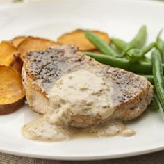 Pork Chops au Poivre - EatingWell.com  Really fast.  Husband would reduce  amount of brandy.  Child and I liked it.  Serve with roasted sweet potato slices
