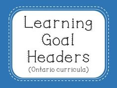 """I cut and laminate these and affix them to my whiteboard. Next to each heading, I write the learning goal of the current unit. For example, next to Math, I could write """"We will add two-digit numbers."""" for a Grade 2 learning goal. With combined grades, the teacher can use two different colours of dry erase marker - or print this off twice and make two boards (one for each grade).This document is to be printed as landscape."""