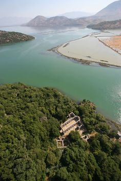 Aerial photograph of the baptistery in Butrint