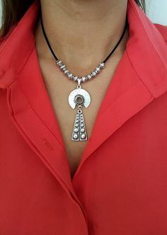 Silver Boho Choker Charm Necklace 90s Choker Leather Choker