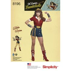 Simplicity Pattern 8196 Misses D.C. Comics Bombshells Wonder Woman Costume