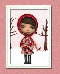Little Red Riding Hood And Little Red Fox Art by thedreamygiraffe, $18.00