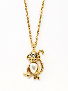 Kenneth Jay Lane Pearl & Crystal Monkey Pendant Necklace