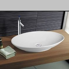 100 euro NEG Waschbecken Uno33A (groß/oval), Aufsatz-Waschschale/Waschtisch mit flachem Rand und Nano-Beschichtung