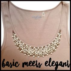 Basic Meets Elegant Tank This basic tank meets dressy with pearl toned bead embellishment- perfect for warm days or evenings out. Caslon Tops Tank Tops