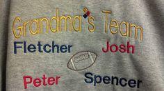 Grandma's or Grandpa's Team Sweatshirt by EmbroideryByJessica, $45.00
