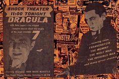 Spook Show Original Shock Theatre Dracula Bela Lugosi 1957 N.Y. Newspaper TV Ads