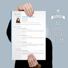 Europe CV Format, Resume Template, 2 Page CV + Letter Size By