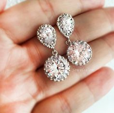 Elegant Cubic Zirconia Earrings Faux Diamond Bridal Jewellery Affordable Wedding Earrings for Bride Bridesmaids