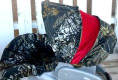 Mossy Oak Camo with red Minky Car seat cover by SqueakyBugBabies, $37.00