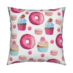 Pink Donut and Cupcake custom fabric by julia_dreams for sale on Spoonflower Bakery Kitchen, Home Bakery, Donut Cupcakes, Kitchen Themes, Custom Fabric, Spoonflower, Craft Projects, Dreams, Throw Pillows