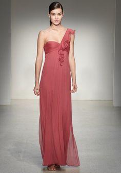 elegant one shoulder bridesmaid dress