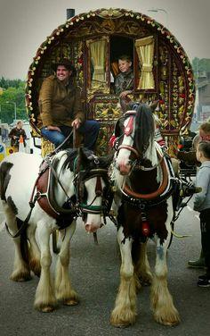 Gypsy Vanner - hitched pair at horse fair Gypsy Trailer, Gypsy Caravan, Gypsy Wagon, Gypsy Style, Boho Gypsy, Boho Style, Gypsy People, Gypsy Culture, Gypsy Home