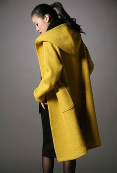 "Yellow wool hoodie coat - from old ""boiled"" wool blanket Fashion Moda, Look Fashion, Womens Fashion, Winter Wear, Autumn Winter Fashion, Mellow Yellow, Yellow Coat, Color Yellow, Cute Coats"