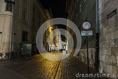 Sienna Street in the old part of Krakow city in Poland. Europe. Street whith bars pubs shops and restaurants .Road leading to the main market square. Night photography.