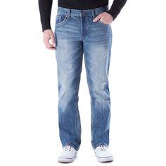 Men's Axe & Crown Stretch Slim Straight Jeans, Size: 36X32, Dark Blue