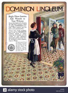Stock Photo - 1922 Canadian advertisement for Dominion Linoleum