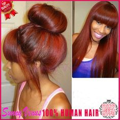 Red 99J Full Lace Human Hair Wig With Bangs Silky Straight For Black Women Burgundy Brazilian Lace Front Wig With Baby Hair