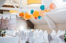 jaune – Sous Le Lampion / Lantern and Lampion Paper Lanterns Party, Wedding Lanterns, Paper Decorations, Wedding Decorations, Wedding Reception Venues, Food Themes, Event Styling, Our Wedding, Wedding Paper