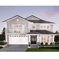 Make a statement with a Hamptons inspired home by Clarendon Homes QLD. Hamptons Style Homes, Hamptons House, The Hamptons, House Paint Exterior, Exterior House Colors, Modern House Colors, Outside House Colors, Clarendon Homes, Suburban House