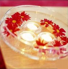 Similar to what I want as center pieces on tables - clear bowl with floating candles and flowers for cassie's wedding