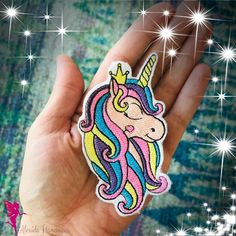 Unicorn Embroidered Hair Clip, Embroidered Unicorn Brooch Beautiful Unicorn, Embroidery Thread, Gift For Lover, Fabric Crafts, Brooch Pin, Hair Clips, Things To Come, Felt, Colours