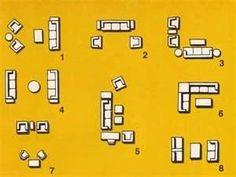 Az egymással szemben lévő két 3-személyes kanapé tűnik a legpraktikusabbnak: köztük nyitva lehet hagyni a teraszajtó egyik felét ill 6 embert ültet le Small Living Room Arrangement PERFECT!!!