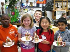 "Architectural Additive Sculpture - 2nd Grade Artists  ""Culture is often expressed by the way people celebrate events and holidays. Author Jan Brett's Gingerbread Baby was the introduction to an artistic experience in the creation of additive sculptural gingerbread houses.""  4-K.F. & M.S."