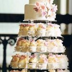 spring cupcake wedding cake with floral garnishes