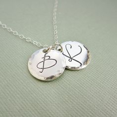 Mothers necklace, childrens initials, two 2 custom initials, personalized mothers day gift, large silver letter necklace, hammered charms