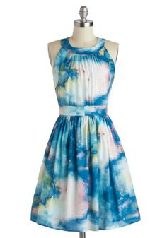 Celestial Get Together Dress - Mid-length, Blue, Multi, Print, Pockets, Party, A-line, Sleeveless, Crew, Summer, Exclusives, Top Rated