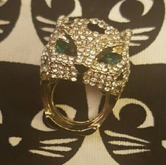 Crystal Jaguar Head Ring Large jaguar ring covered in crystals. Fits about a size 9. Feels very high quality, a bit heavy. Spring Street Jewelry Rings
