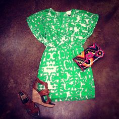 Get this look: Greylin Portia 100% Silk Dress paired with Dolce Vita Camel Wedges, and clutch for $250 at House of Sage, in Charleston SC!  www.houseofsage.com www.facebook.com/shophouseofsage