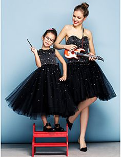 TS Couture Formal Evening Dress - Black Plus Sizes / Petite Ball Gown Sweetheart Knee-length Tulle