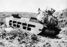 Destroyed Matilda tank in Crete, 1941, pin by Paolo Marzioli