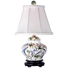 """Lily Covered 19"""" High Porcelain Jar Accent Table Lamp"""