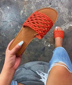 - man-made, vegan-friendly - slip-on - crotchet sandal - cushioned insole TRUE TO SIZE comes in Yellow and Orange Shoes Flats Sandals, Black Sandals, Flat Shoes, Skirt Outfits, Cute Outfits, Pink Snake, Foot Toe, Vegan Shoes, Fashion Sandals