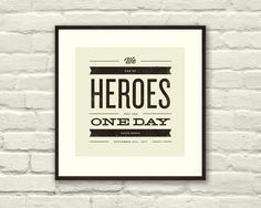 DAVID BOWIE Inspired, Heroes Lyric Poster - 8 x 8 Typography Art Print, Modern Poster, Retro Home, Vintage, Rock Music. $20,00, via Etsy.