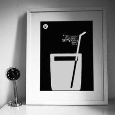 Big Lebowski 'Beverage Here' Art Print from notonthehighstreet.com