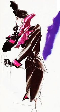 Paloma Picasso wearing Yves Saint Laurent, in a 1984 advertisement. Illustration: Antonio Lopez,